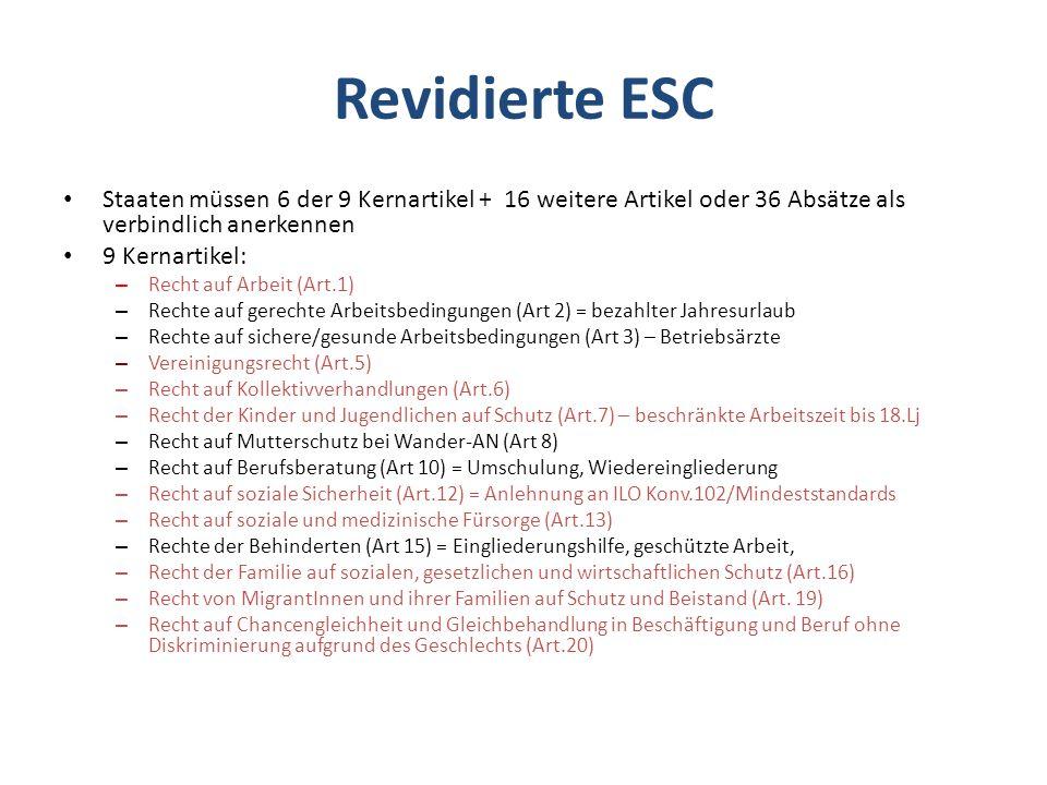 Revidierte ESC Staaten müssen 6 der 9 Kernartikel + 16 weitere Artikel oder 36 Absätze als verbindlich anerkennen 9 Kernartikel: – Recht auf Arbeit (Art.1) – Rechte auf gerechte Arbeitsbedingungen (Art 2) = bezahlter Jahresurlaub – Rechte auf sichere/gesunde Arbeitsbedingungen (Art 3) – Betriebsärzte – Vereinigungsrecht (Art.5) – Recht auf Kollektivverhandlungen (Art.6) – Recht der Kinder und Jugendlichen auf Schutz (Art.7) – beschränkte Arbeitszeit bis 18.Lj – Recht auf Mutterschutz bei Wander-AN (Art 8) – Recht auf Berufsberatung (Art 10) = Umschulung, Wiedereingliederung – Recht auf soziale Sicherheit (Art.12) = Anlehnung an ILO Konv.102/Mindeststandards – Recht auf soziale und medizinische Fürsorge (Art.13) – Rechte der Behinderten (Art 15) = Eingliederungshilfe, geschützte Arbeit, – Recht der Familie auf sozialen, gesetzlichen und wirtschaftlichen Schutz (Art.16) – Recht von MigrantInnen und ihrer Familien auf Schutz und Beistand (Art.