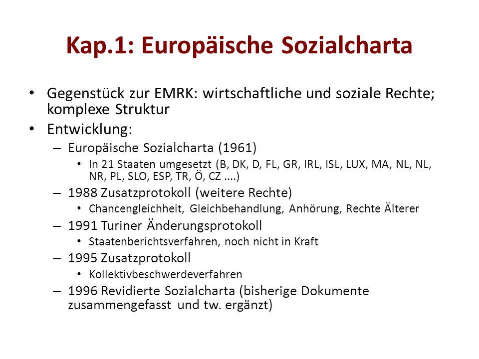 Kap.1: Europäische Sozialcharta Gegenstück zur EMRK: wirtschaftliche und soziale Rechte; komplexe Struktur Entwicklung: – Europäische Sozialcharta (1961) In 21 Staaten umgesetzt (B, DK, D, FL, GR, IRL, ISL, LUX, MA, NL, NL, NR, PL, SLO, ESP, TR, Ö, CZ....) – 1988 Zusatzprotokoll (weitere Rechte) Chancengleichheit, Gleichbehandlung, Anhörung, Rechte Älterer – 1991 Turiner Änderungsprotokoll Staatenberichtsverfahren, noch nicht in Kraft – 1995 Zusatzprotokoll Kollektivbeschwerdeverfahren – 1996 Revidierte Sozialcharta (bisherige Dokumente zusammengefasst und tw.