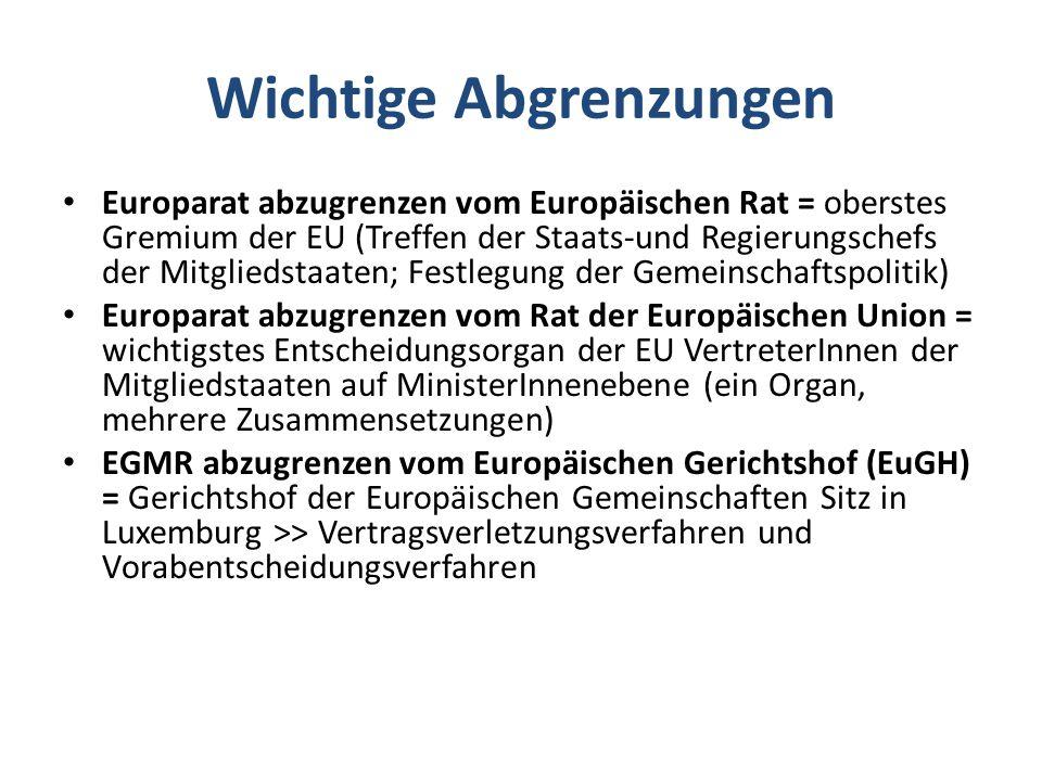 Wichtige Abgrenzungen Europarat abzugrenzen vom Europäischen Rat = oberstes Gremium der EU (Treffen der Staats-und Regierungschefs der Mitgliedstaaten; Festlegung der Gemeinschaftspolitik) Europarat abzugrenzen vom Rat der Europäischen Union = wichtigstes Entscheidungsorgan der EU VertreterInnen der Mitgliedstaaten auf MinisterInnenebene (ein Organ, mehrere Zusammensetzungen) EGMR abzugrenzen vom Europäischen Gerichtshof (EuGH) = Gerichtshof der Europäischen Gemeinschaften Sitz in Luxemburg >> Vertragsverletzungsverfahren und Vorabentscheidungsverfahren