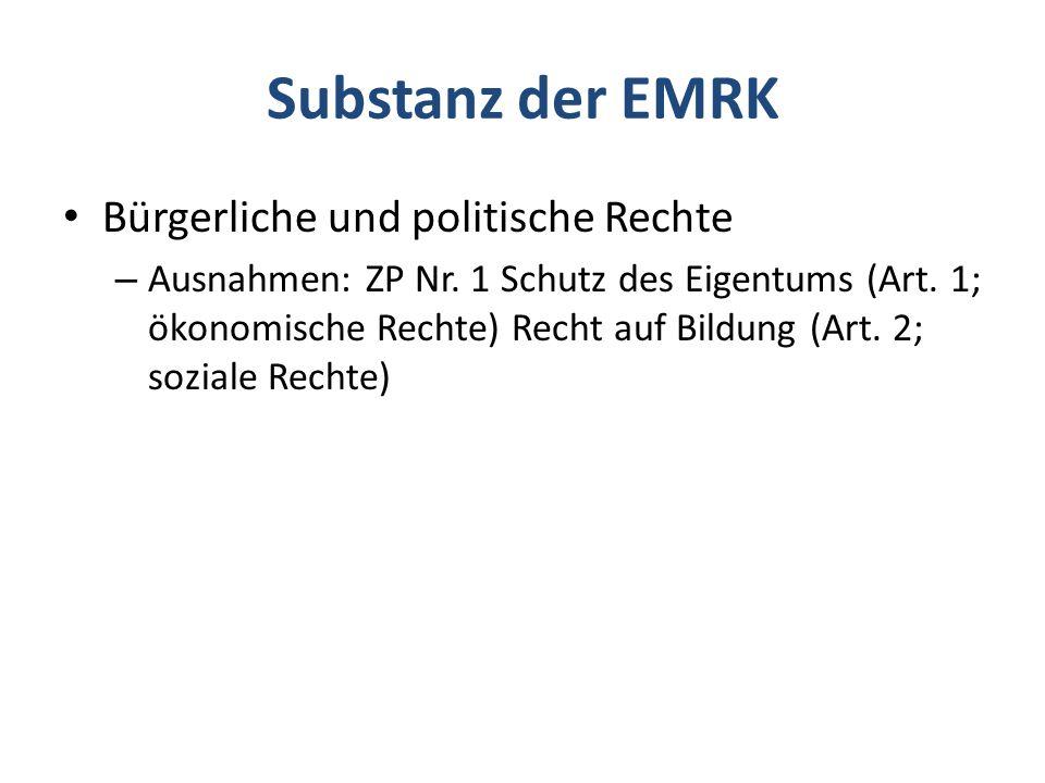 Substanz der EMRK Bürgerliche und politische Rechte – Ausnahmen: ZP Nr.