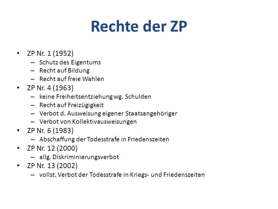 Rechte der ZP ZP Nr.