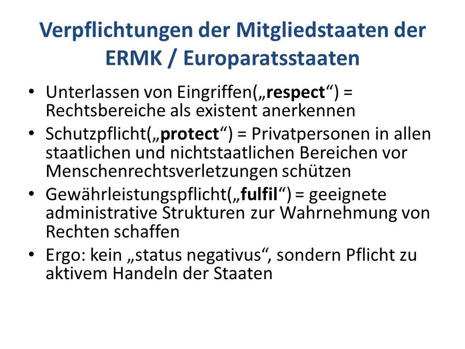 """Verpflichtungen der Mitgliedstaaten der ERMK / Europaratsstaaten Unterlassen von Eingriffen(""""respect ) = Rechtsbereiche als existent anerkennen Schutzpflicht(""""protect ) = Privatpersonen in allen staatlichen und nichtstaatlichen Bereichen vor Menschenrechtsverletzungen schützen Gewährleistungspflicht(""""fulfil ) = geeignete administrative Strukturen zur Wahrnehmung von Rechten schaffen Ergo: kein """"status negativus , sondern Pflicht zu aktivem Handeln der Staaten"""