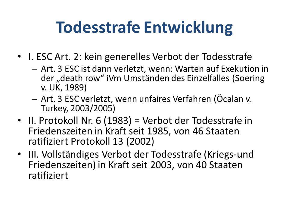 Todesstrafe Entwicklung I.ESC Art. 2: kein generelles Verbot der Todesstrafe – Art.