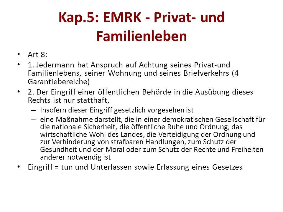 Kap.5: EMRK - Privat- und Familienleben Art 8: 1.