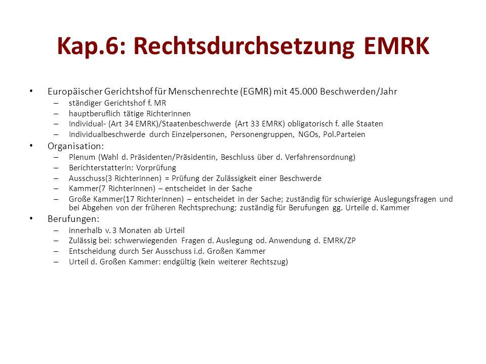 Kap.6: Rechtsdurchsetzung EMRK Europäischer Gerichtshof für Menschenrechte (EGMR) mit 45.000 Beschwerden/Jahr – ständiger Gerichtshof f.