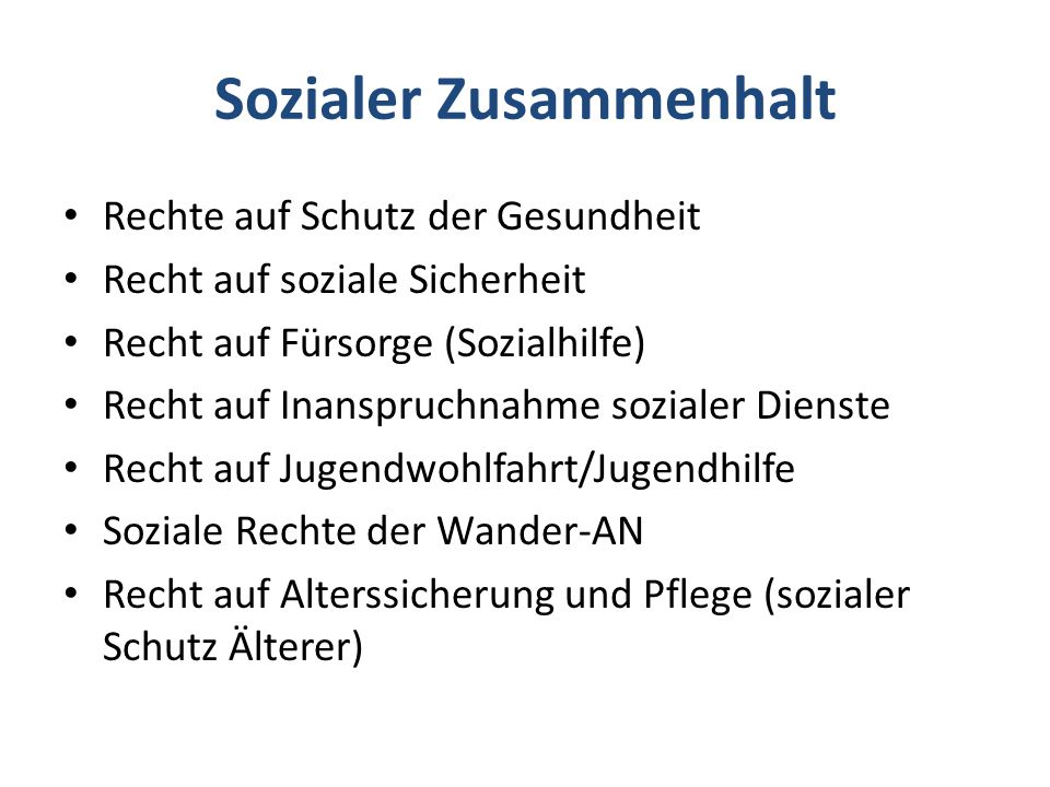 Soziale Arbeit und Sozialcharta Sozialcharta > zentrale Schutzbestimmungen Art.