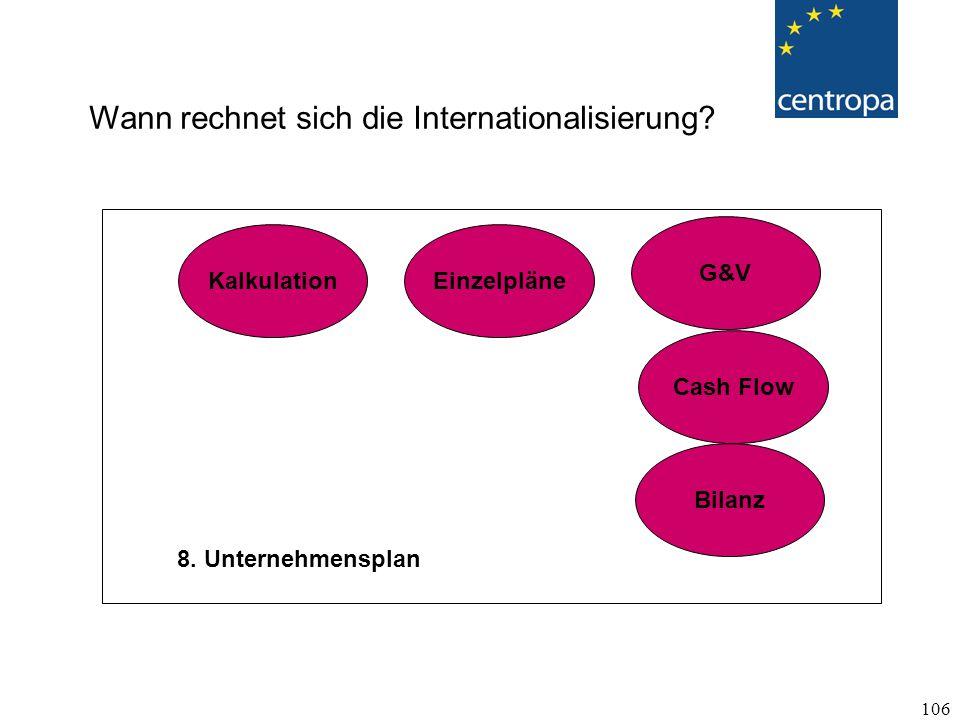 106 8.Unternehmensplan G&V Cash Flow Bilanz Wann rechnet sich die Internationalisierung.