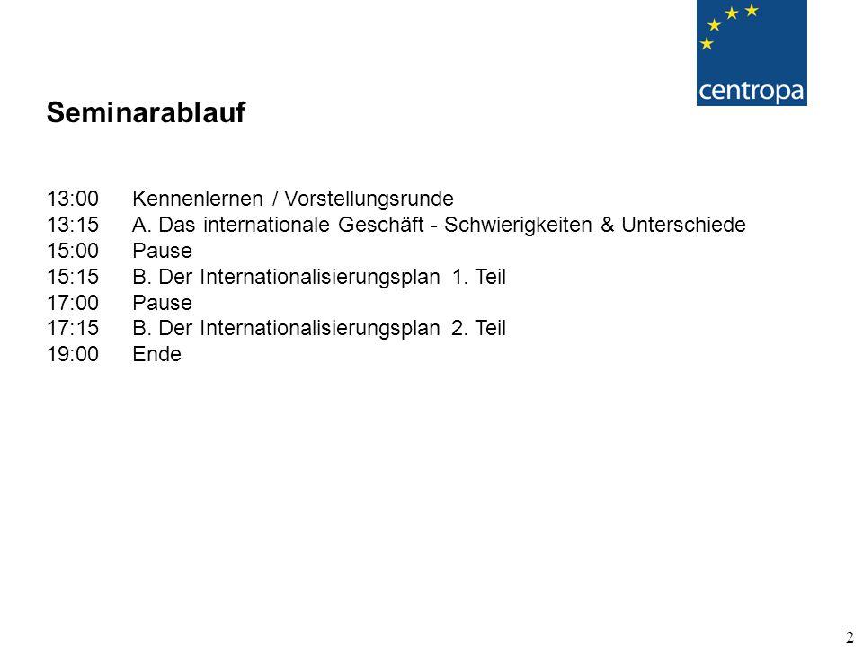 2 Seminarablauf 13:00Kennenlernen / Vorstellungsrunde 13:15A.