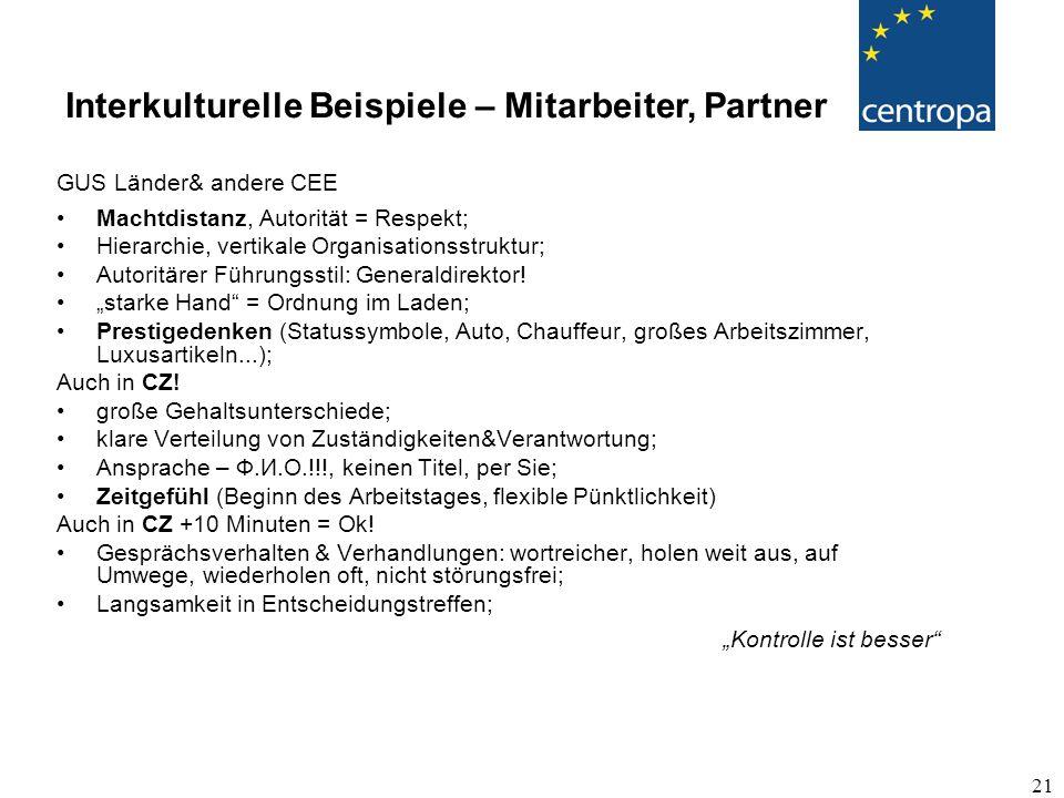 21 GUS Länder& andere CEE Machtdistanz, Autorität = Respekt; Hierarchie, vertikale Organisationsstruktur; Autoritärer Führungsstil: Generaldirektor.