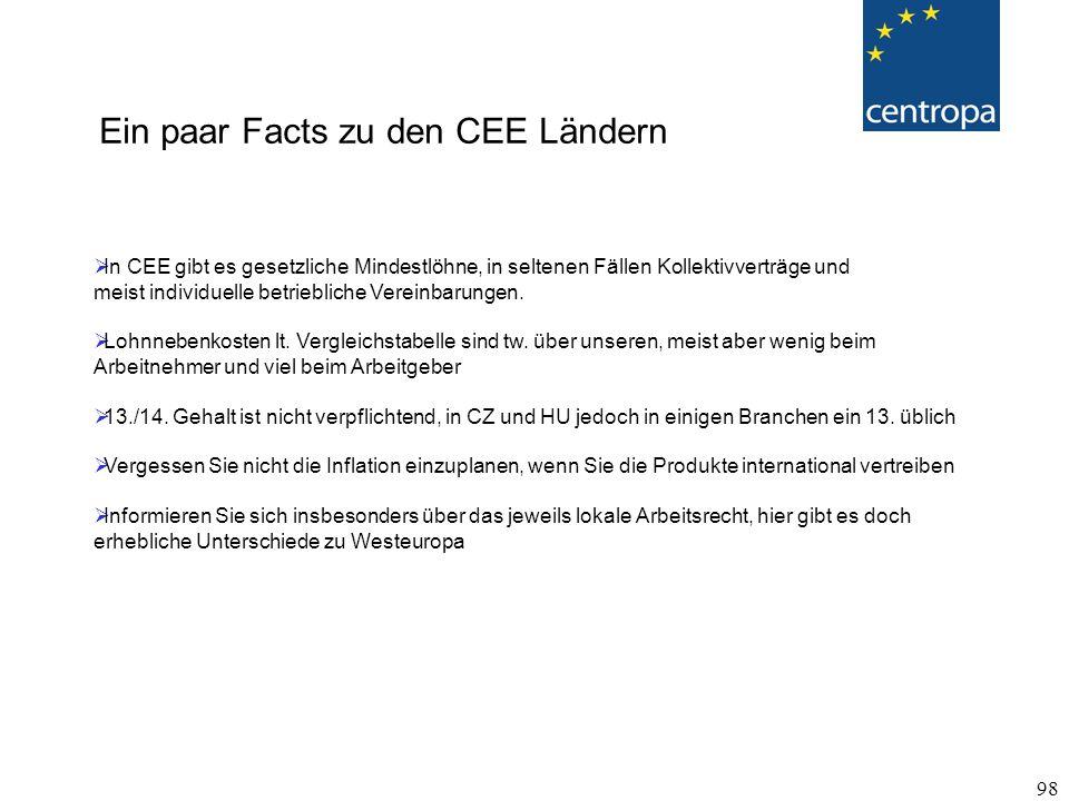 98  In CEE gibt es gesetzliche Mindestlöhne, in seltenen Fällen Kollektivverträge und meist individuelle betriebliche Vereinbarungen.
