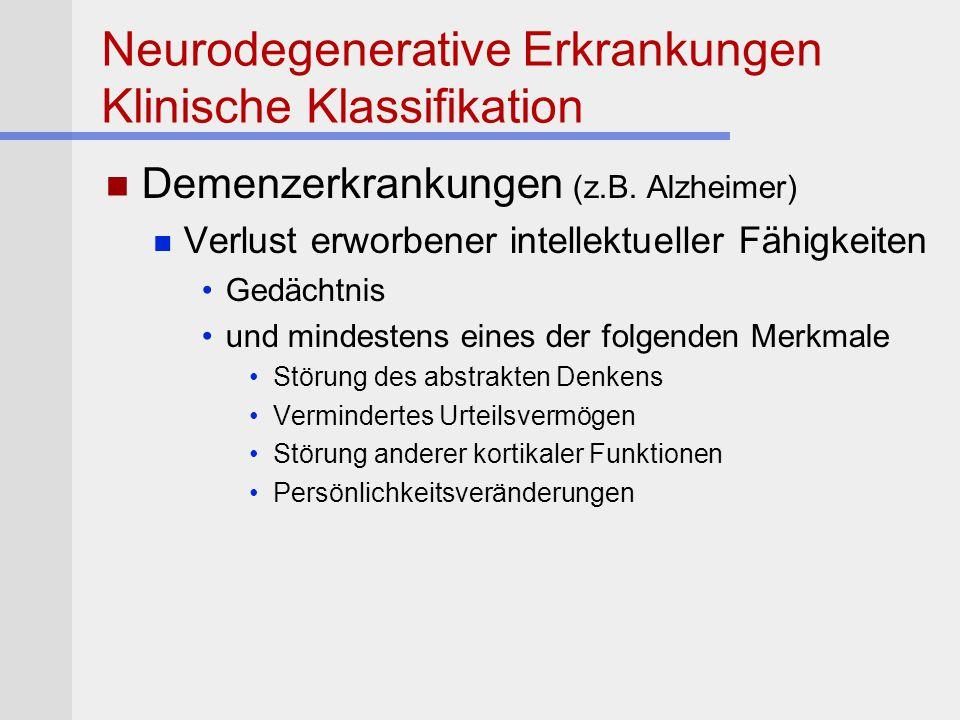 Neurodegenerative Erkrankungen Klinische Klassifikation Demenzerkrankungen (z.B. Alzheimer) Verlust erworbener intellektueller Fähigkeiten Gedächtnis