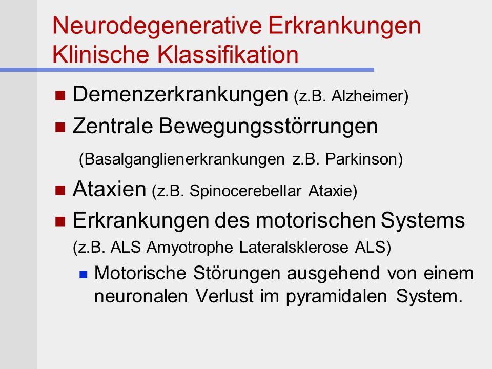 Neurodegenerative Erkrankungen Klinische Klassifikation Demenzerkrankungen (z.B. Alzheimer) Zentrale Bewegungsstörrungen (Basalganglienerkrankungen z.