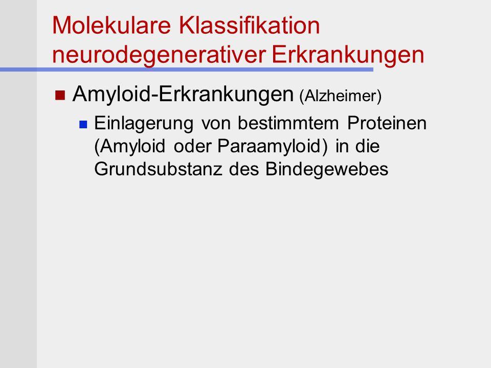 Molekulare Klassifikation neurodegenerativer Erkrankungen Amyloid-Erkrankungen (Alzheimer) Einlagerung von bestimmtem Proteinen (Amyloid oder Paraamyl