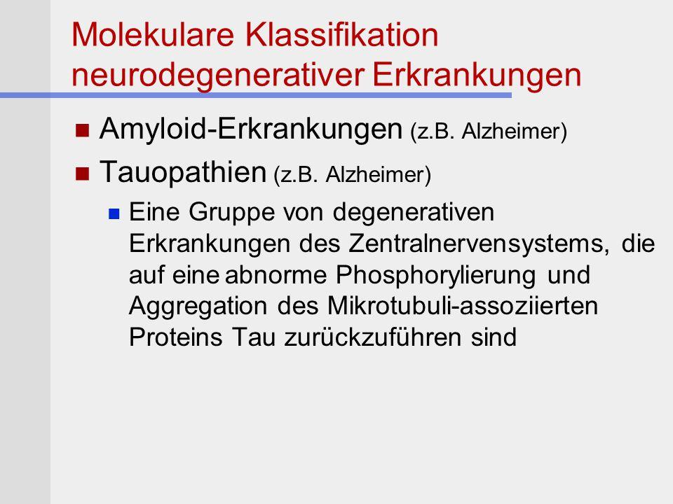 Molekulare Klassifikation neurodegenerativer Erkrankungen Amyloid-Erkrankungen (z.B. Alzheimer) Tauopathien (z.B. Alzheimer) Eine Gruppe von degenerat
