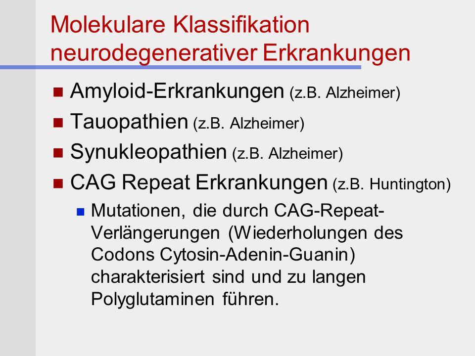 Molekulare Klassifikation neurodegenerativer Erkrankungen Amyloid-Erkrankungen (z.B. Alzheimer) Tauopathien (z.B. Alzheimer) Synukleopathien (z.B. Alz