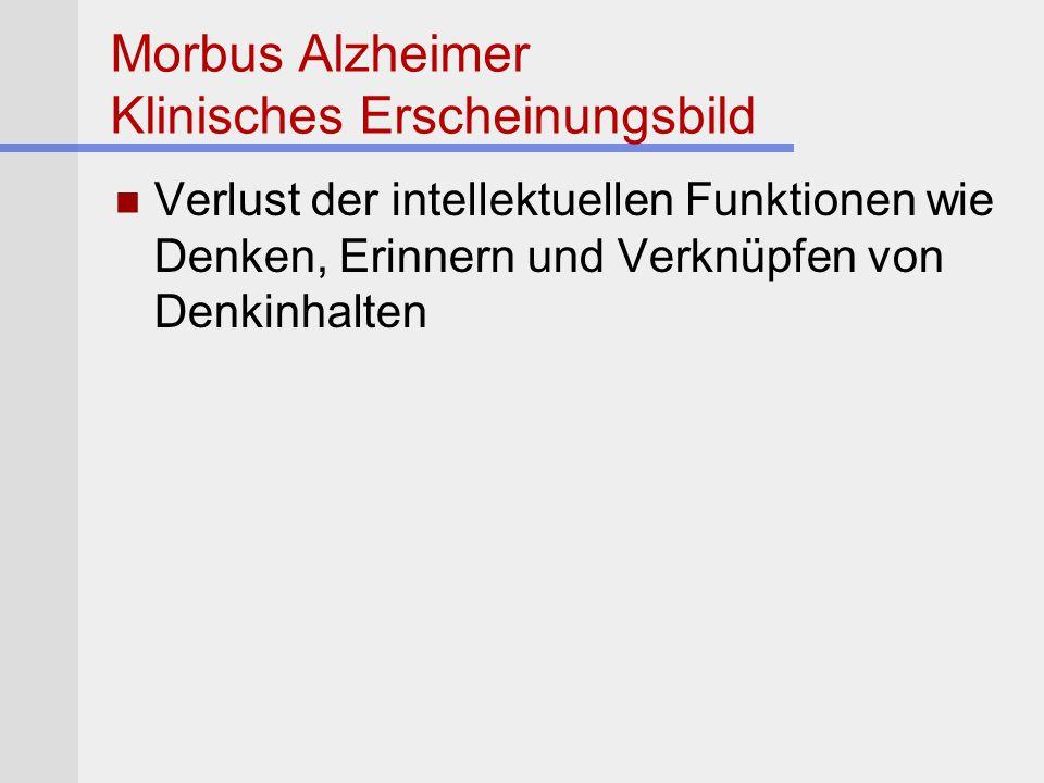 Morbus Alzheimer Klinisches Erscheinungsbild Verlust der intellektuellen Funktionen wie Denken, Erinnern und Verknüpfen von Denkinhalten