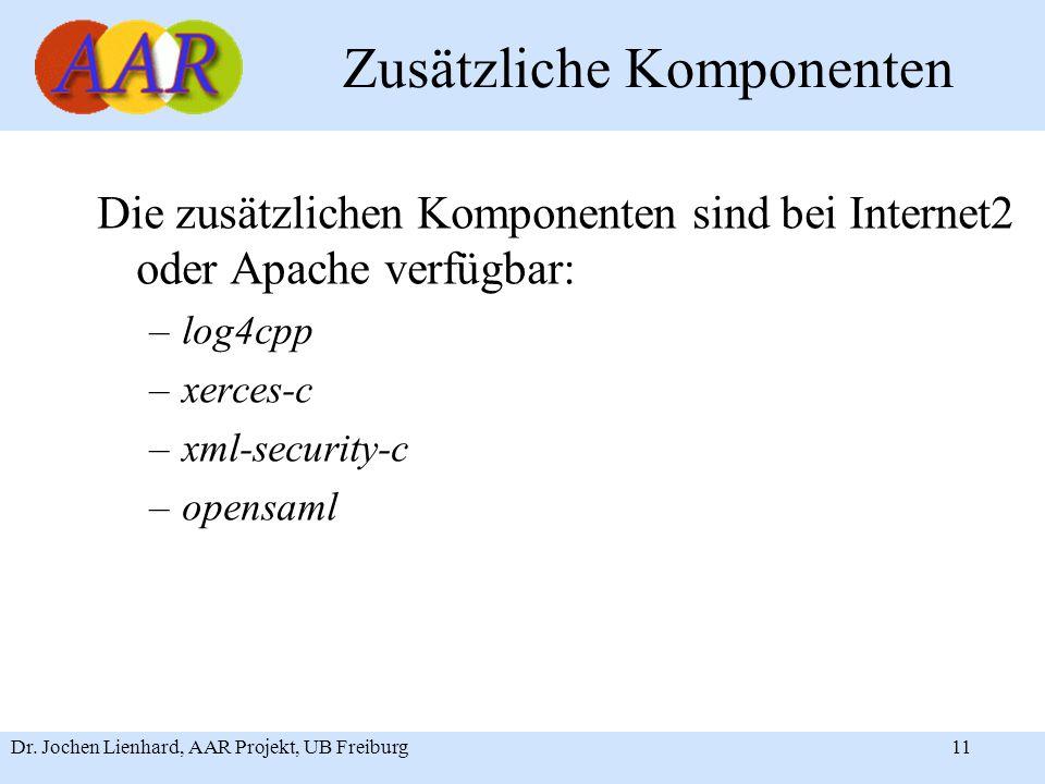 Dr. Jochen Lienhard, AAR Projekt, UB Freiburg11 Zusätzliche Komponenten Die zusätzlichen Komponenten sind bei Internet2 oder Apache verfügbar: –log4cp