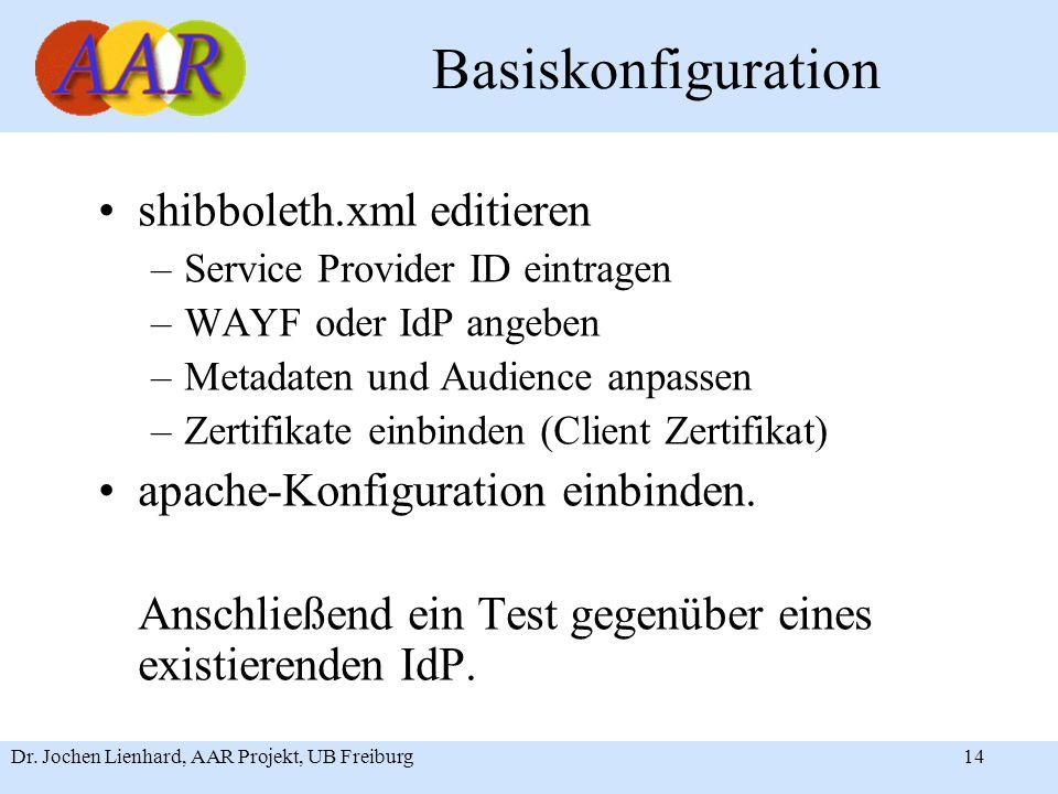 Dr. Jochen Lienhard, AAR Projekt, UB Freiburg14 Basiskonfiguration shibboleth.xml editieren –Service Provider ID eintragen –WAYF oder IdP angeben –Met