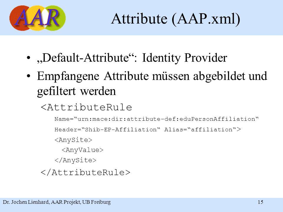 "Dr. Jochen Lienhard, AAR Projekt, UB Freiburg15 Attribute (AAP.xml) ""Default-Attribute"": Identity Provider Empfangene Attribute müssen abgebildet und"