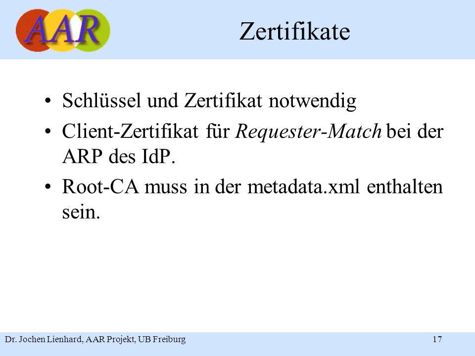 Dr. Jochen Lienhard, AAR Projekt, UB Freiburg17 Zertifikate Schlüssel und Zertifikat notwendig Client-Zertifikat für Requester-Match bei der ARP des I