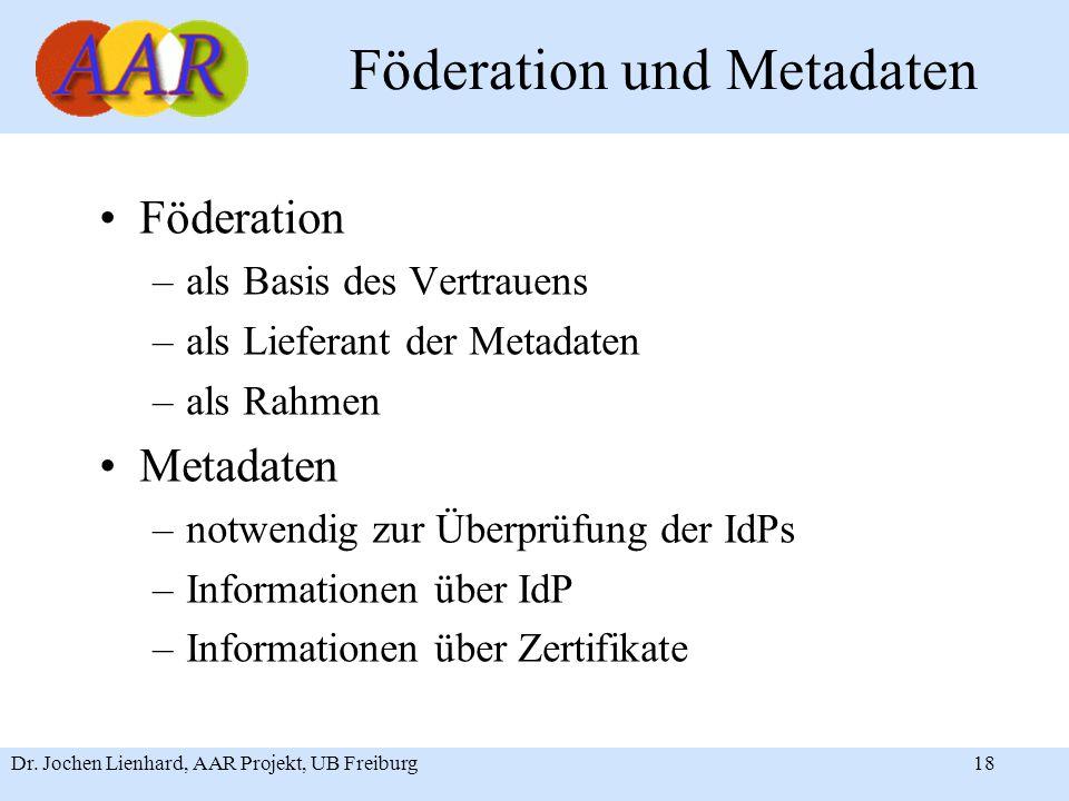 Dr. Jochen Lienhard, AAR Projekt, UB Freiburg18 Föderation und Metadaten Föderation –als Basis des Vertrauens –als Lieferant der Metadaten –als Rahmen