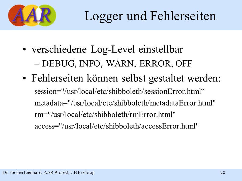 Dr. Jochen Lienhard, AAR Projekt, UB Freiburg20 Logger und Fehlerseiten verschiedene Log-Level einstellbar –DEBUG, INFO, WARN, ERROR, OFF Fehlerseiten