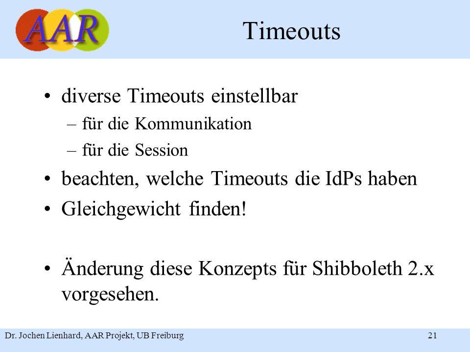 Dr. Jochen Lienhard, AAR Projekt, UB Freiburg21 Timeouts diverse Timeouts einstellbar –für die Kommunikation –für die Session beachten, welche Timeout