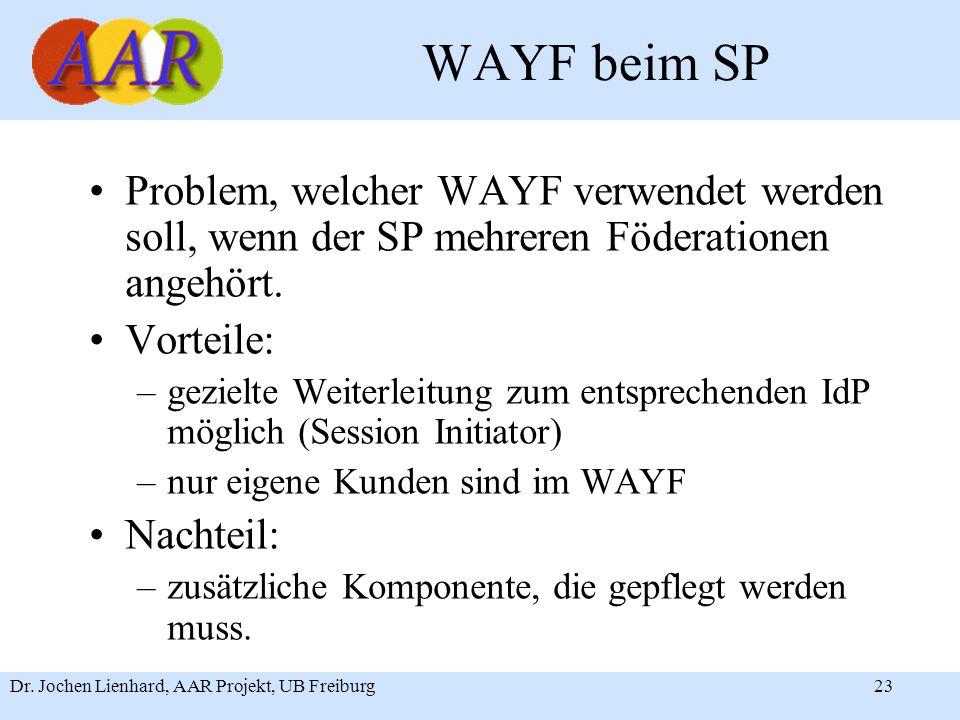 Dr. Jochen Lienhard, AAR Projekt, UB Freiburg23 WAYF beim SP Problem, welcher WAYF verwendet werden soll, wenn der SP mehreren Föderationen angehört.