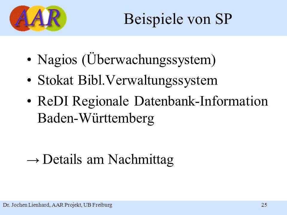 Dr. Jochen Lienhard, AAR Projekt, UB Freiburg25 Beispiele von SP Nagios (Überwachungssystem) Stokat Bibl.Verwaltungssystem ReDI Regionale Datenbank-In