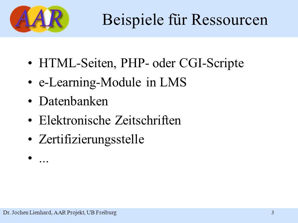 Dr. Jochen Lienhard, AAR Projekt, UB Freiburg3 Beispiele für Ressourcen HTML-Seiten, PHP- oder CGI-Scripte e-Learning-Module in LMS Datenbanken Elektr