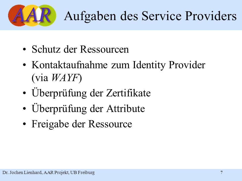 Dr. Jochen Lienhard, AAR Projekt, UB Freiburg7 Aufgaben des Service Providers Schutz der Ressourcen Kontaktaufnahme zum Identity Provider (via WAYF) Ü