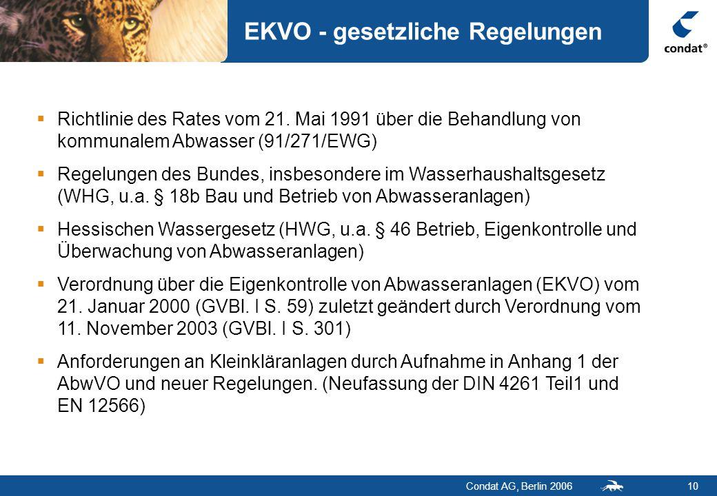 Condat AG, Berlin 200610 EKVO - gesetzliche Regelungen  Richtlinie des Rates vom 21.