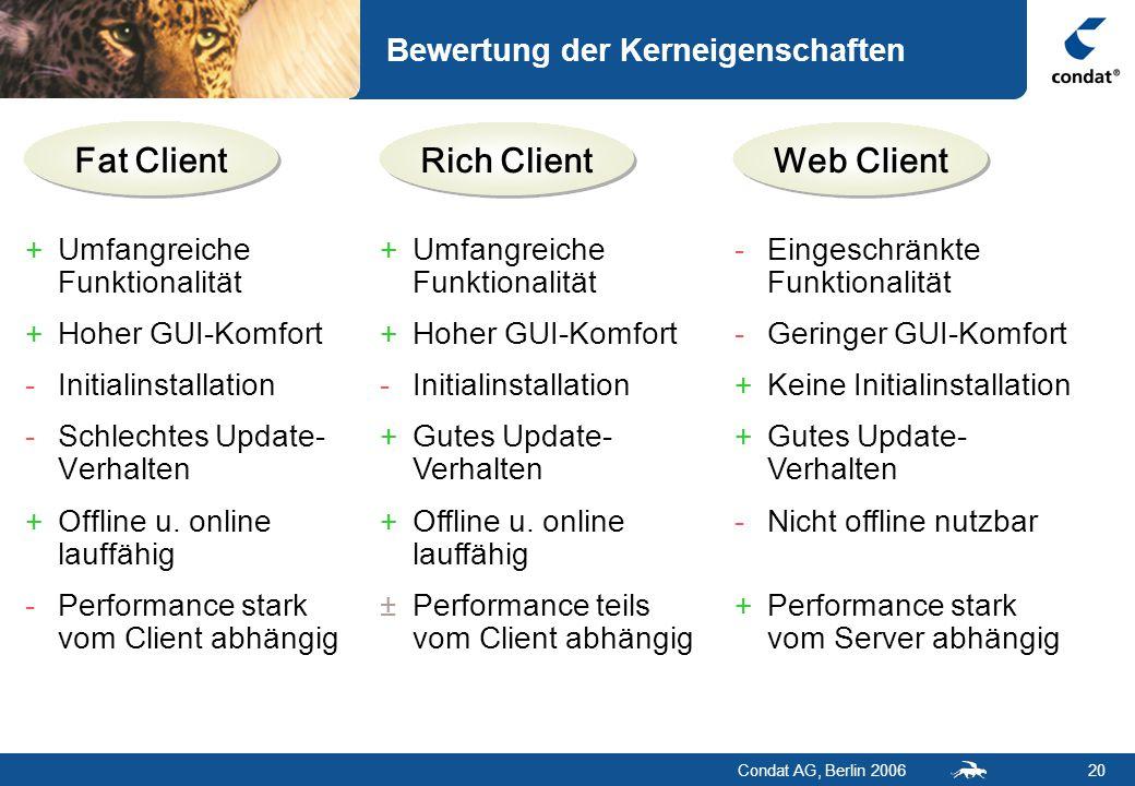 Condat AG, Berlin 200620 Fat Client Bewertung der Kerneigenschaften Rich ClientWeb Client +Umfangreiche Funktionalität +Hoher GUI-Komfort -Initialinstallation -Schlechtes Update- Verhalten +Offline u.