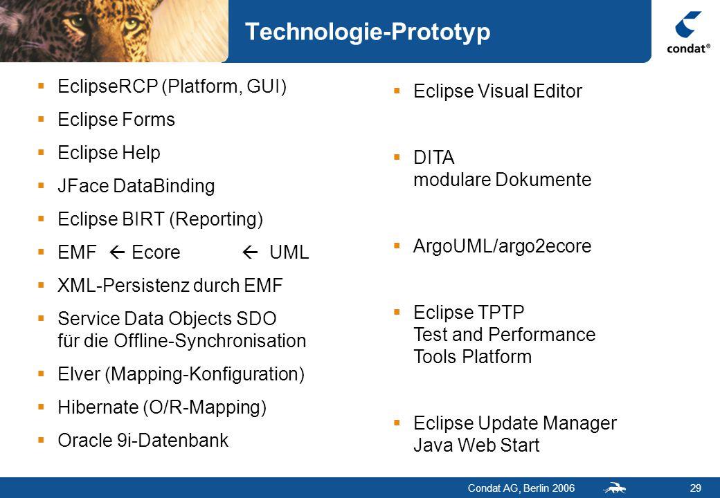 Condat AG, Berlin 200629 Technologie-Prototyp  EclipseRCP (Platform, GUI)  Eclipse Forms  Eclipse Help  JFace DataBinding  Eclipse BIRT (Reporting)  EMF  Ecore  UML  XML-Persistenz durch EMF  Service Data Objects SDO für die Offline-Synchronisation  Elver (Mapping-Konfiguration)  Hibernate (O/R-Mapping)  Oracle 9i-Datenbank  Eclipse Visual Editor  DITA modulare Dokumente  ArgoUML/argo2ecore  Eclipse TPTP Test and Performance Tools Platform  Eclipse Update Manager Java Web Start