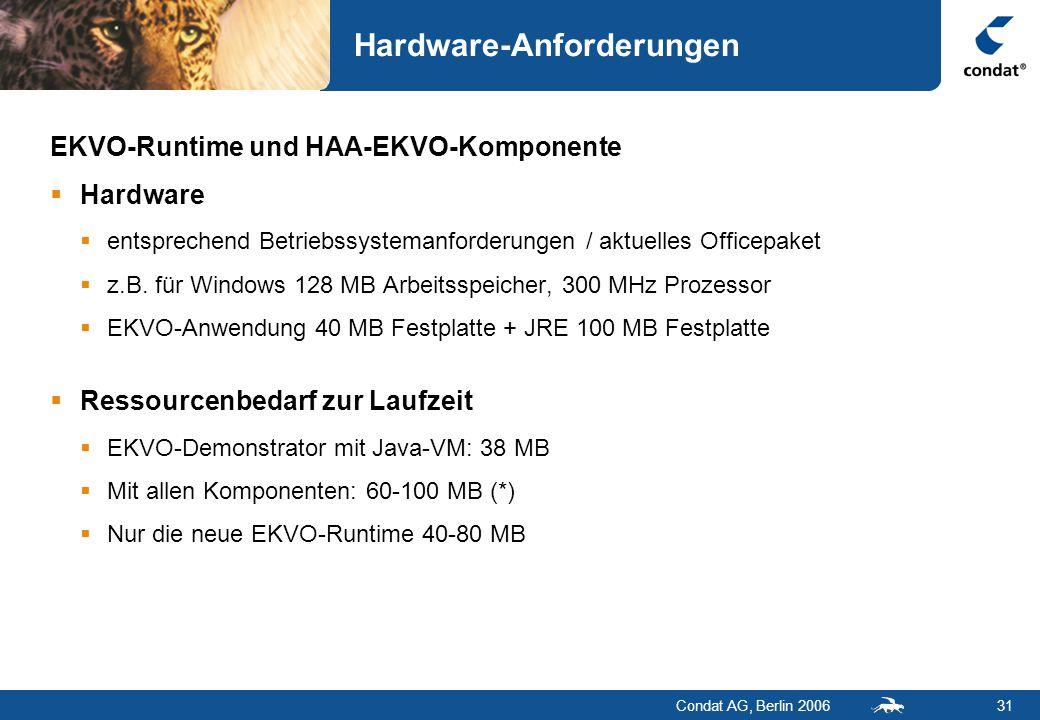 Condat AG, Berlin 200631 Hardware-Anforderungen EKVO-Runtime und HAA-EKVO-Komponente  Hardware  entsprechend Betriebssystemanforderungen / aktuelles Officepaket  z.B.
