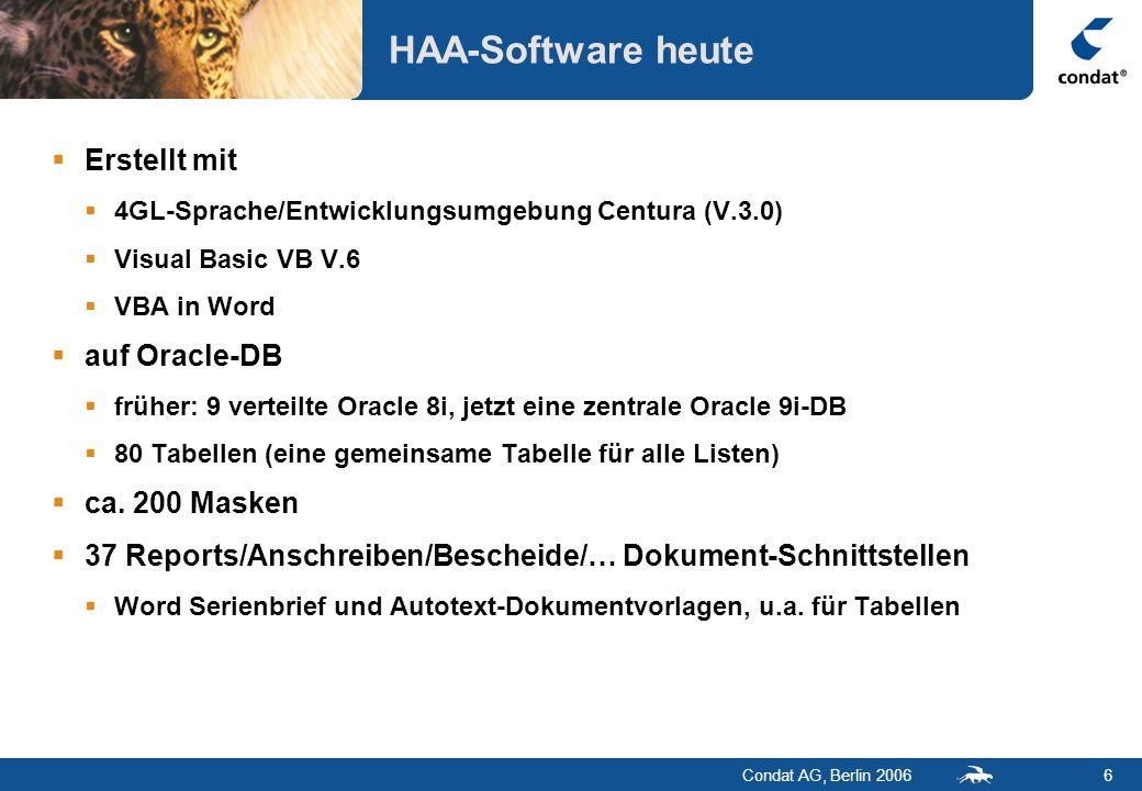 Condat AG, Berlin 20067 HAA-Software Funktionsgruppen