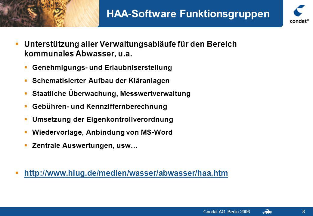Condat AG, Berlin 20068 HAA-Software Funktionsgruppen  Unterstützung aller Verwaltungsabläufe für den Bereich kommunales Abwasser, u.a.