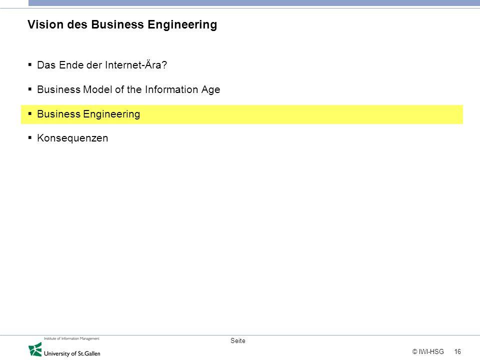 16 © IWI-HSG Seite Vision des Business Engineering  Das Ende der Internet-Ära?  Business Model of the Information Age  Business Engineering  Konse