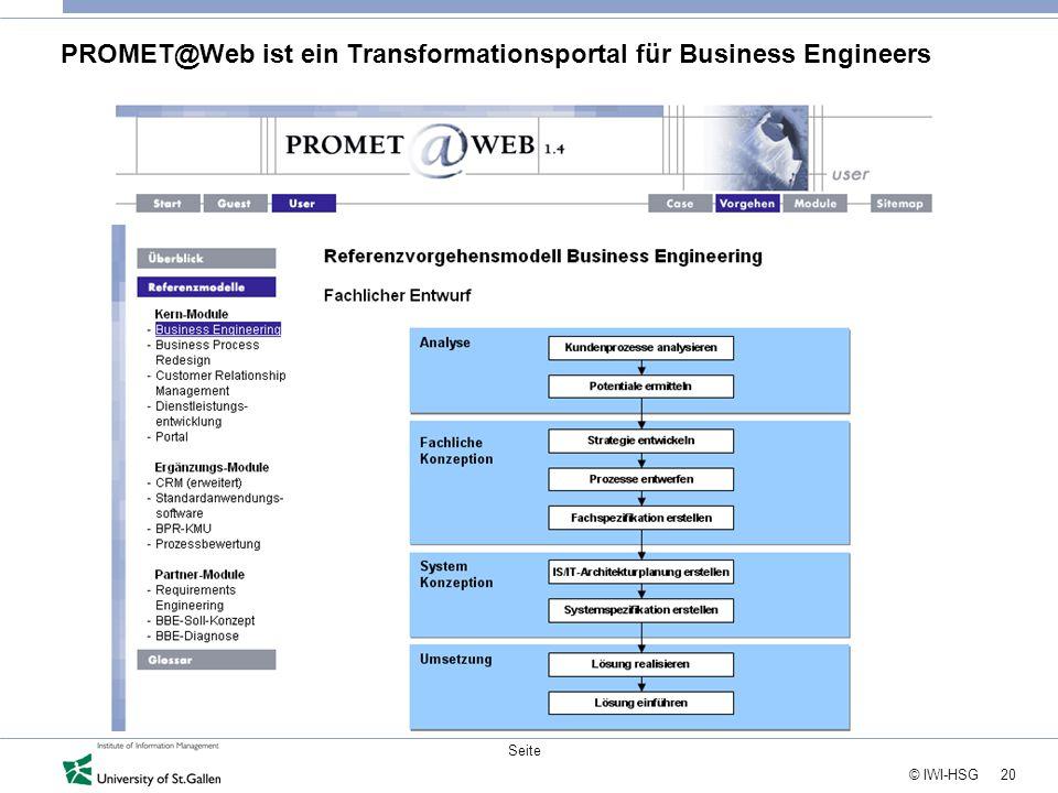 20 © IWI-HSG Seite PROMET@Web ist ein Transformationsportal für Business Engineers