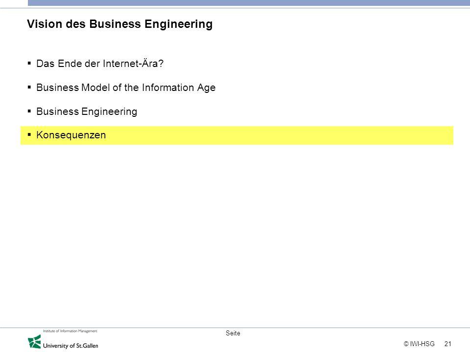 21 © IWI-HSG Seite Vision des Business Engineering  Das Ende der Internet-Ära?  Business Model of the Information Age  Business Engineering  Konse