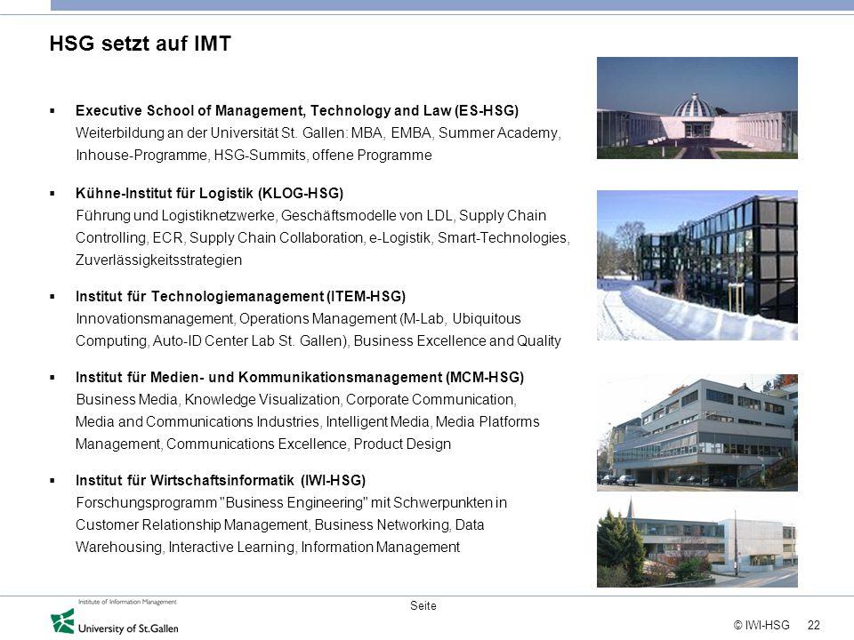 22 © IWI-HSG Seite HSG setzt auf IMT  Executive School of Management, Technology and Law (ES-HSG) Weiterbildung an der Universität St. Gallen: MBA, E