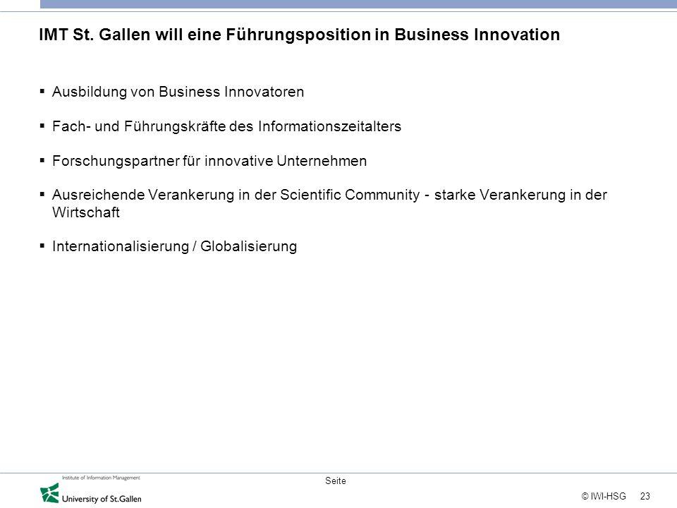 23 © IWI-HSG Seite IMT St. Gallen will eine Führungsposition in Business Innovation  Ausbildung von Business Innovatoren  Fach- und Führungskräfte d
