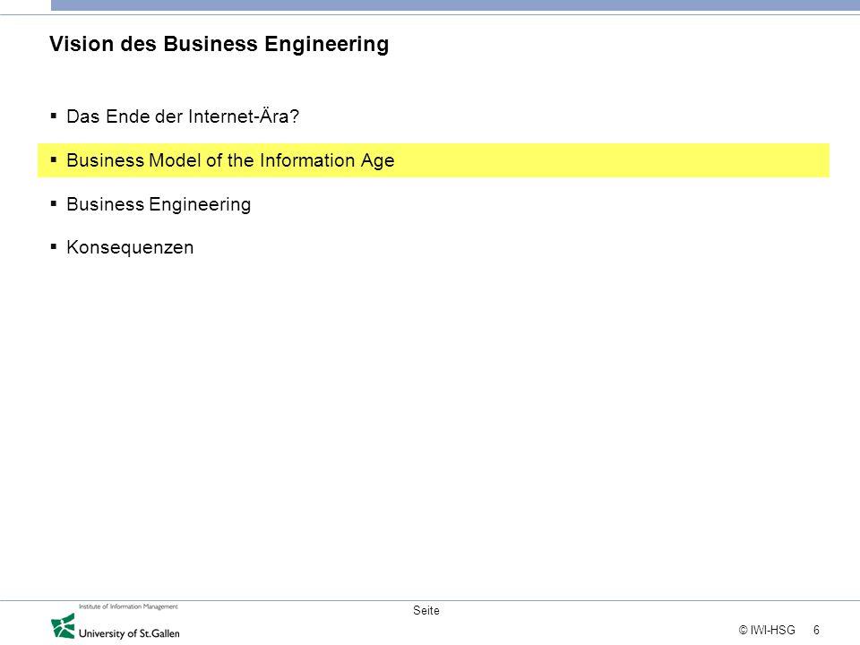 6 © IWI-HSG Seite Vision des Business Engineering  Das Ende der Internet-Ära?  Business Model of the Information Age  Business Engineering  Konseq