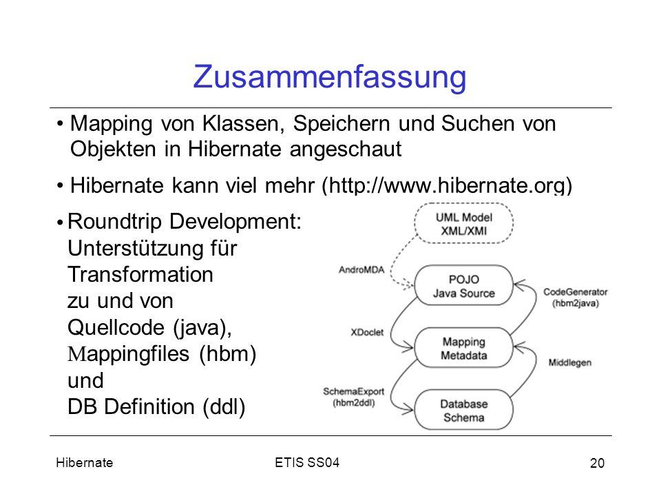 ETIS SS04Hibernate 20 Zusammenfassung Mapping von Klassen, Speichern und Suchen von Objekten in Hibernate angeschaut Hibernate kann viel mehr (http://www.hibernate.org) Roundtrip Development: Unterstützung für Transformation zu und von Quellcode (java), M appingfiles (hbm) und DB Definition (ddl)