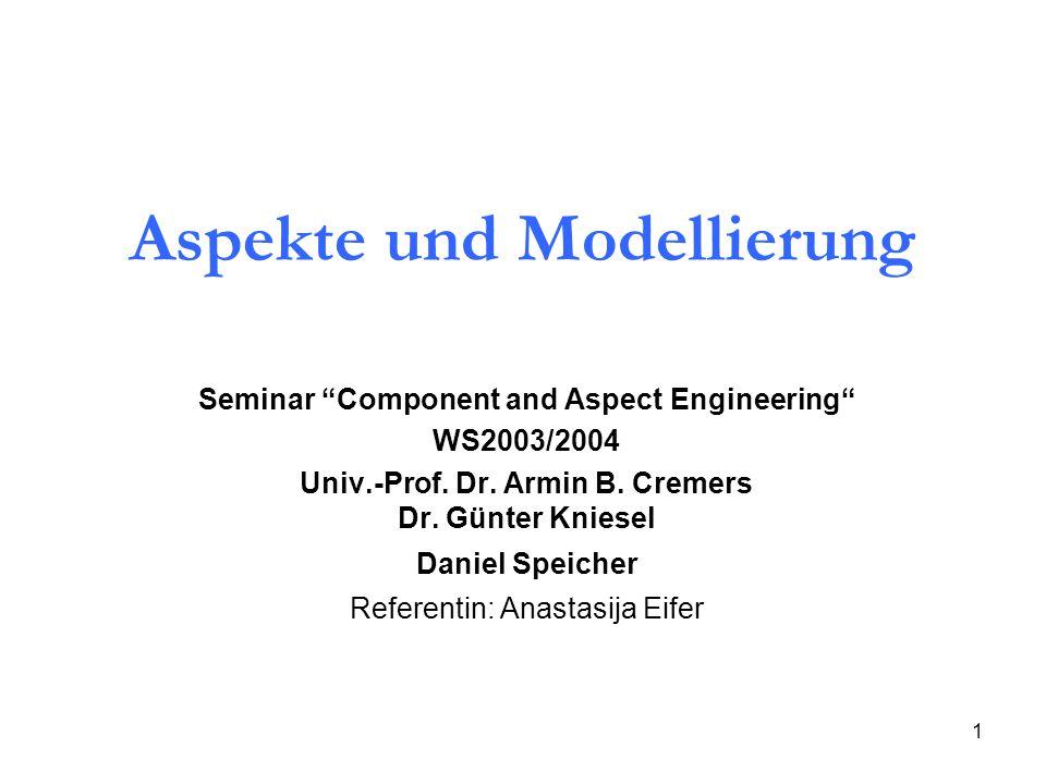 1 Aspekte und Modellierung Seminar Component and Aspect Engineering WS2003/2004 Univ.-Prof.