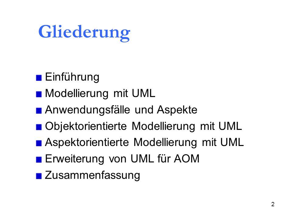2 Gliederung Einführung Modellierung mit UML Anwendungsfälle und Aspekte Objektorientierte Modellierung mit UML Aspektorientierte Modellierung mit UML Erweiterung von UML für AOM Zusammenfassung