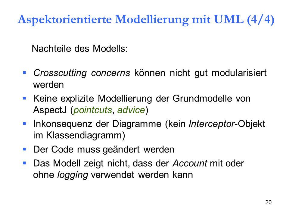 20 Nachteile des Modells:  Crosscutting concerns können nicht gut modularisiert werden  Keine explizite Modellierung der Grundmodelle von AspectJ (pointcuts, advice)  Inkonsequenz der Diagramme (kein Interceptor-Objekt im Klassendiagramm)  Der Code muss geändert werden  Das Modell zeigt nicht, dass der Account mit oder ohne logging verwendet werden kann Aspektorientierte Modellierung mit UML (4/4)
