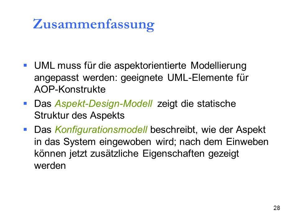 28 Zusammenfassung  UML muss für die aspektorientierte Modellierung angepasst werden: geeignete UML-Elemente für AOP-Konstrukte  Das Aspekt-Design-Modell zeigt die statische Struktur des Aspekts  Das Konfigurationsmodell beschreibt, wie der Aspekt in das System eingewoben wird; nach dem Einweben können jetzt zusätzliche Eigenschaften gezeigt werden