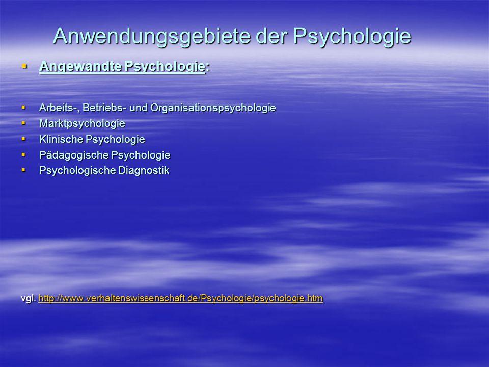 Anwendungsgebiete der Psychologie  Angewandte Psychologie:  Arbeits-, Betriebs- und Organisationspsychologie  Marktpsychologie  Klinische Psycholo