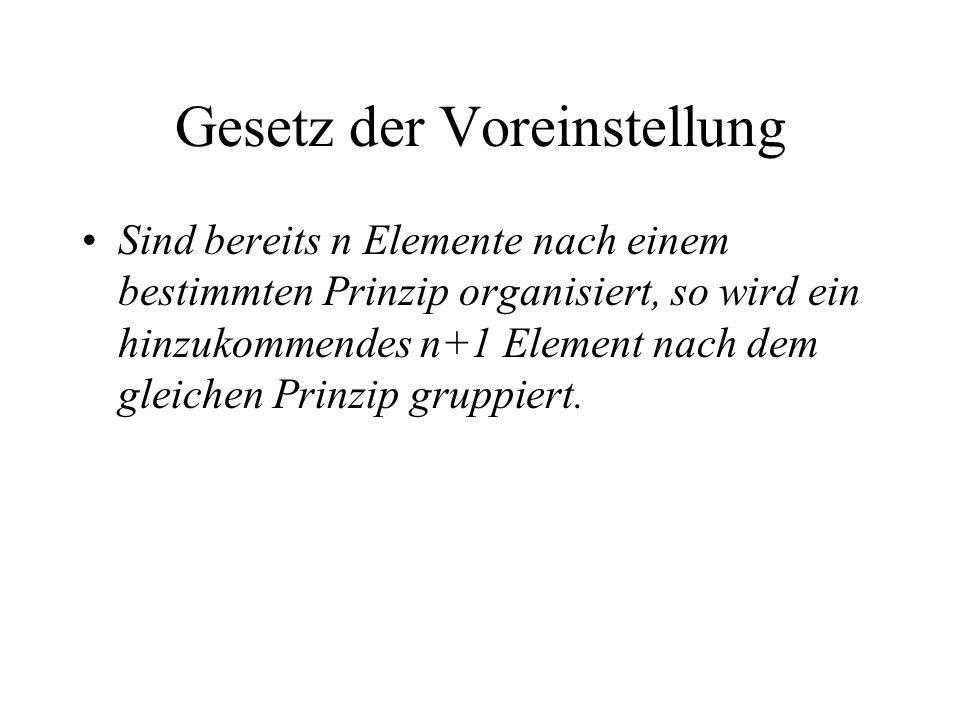 Gesetz der Voreinstellung Sind bereits n Elemente nach einem bestimmten Prinzip organisiert, so wird ein hinzukommendes n+1 Element nach dem gleichen